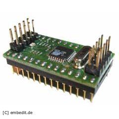 The initial port was done with the Mega168 Mini Module from Embedit Mikrocontrollertechnik.