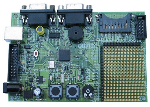 This STR-P711 evaluation port from Olimex features a STR711FR2T6 16/32 bit ARM7TDMI with 256K Bytes Program Flash, 64K Bytes RAM.